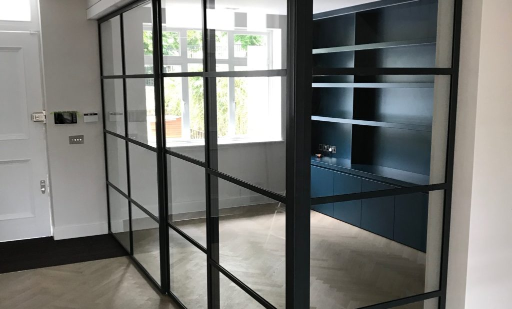 Black Steel Sliding Door by Design Plus London