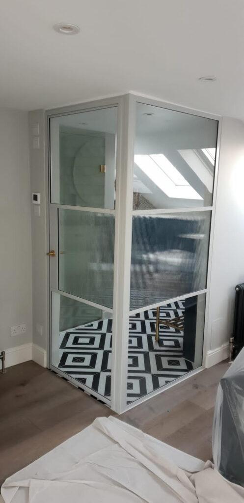 Original Steel Door Screen with Reeded glass Design Plus 01